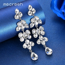 Mecresh Cute Teardrop Crystal Bridal Wedding Dangle Earrings Jewelry Silver Color Leaf Vine Long Drop for Women MEH1627
