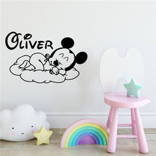 Mouse Custom Name Mickey Art Vinyl Wall Sticker Wallpaper For Nursery Room Kids Babys Room Decoration Wall Decal Stickers Murals pirate ship and treasure map decal set wall decal custom vinyl art stickers for classrooms kids rooms baby nurseries 3004