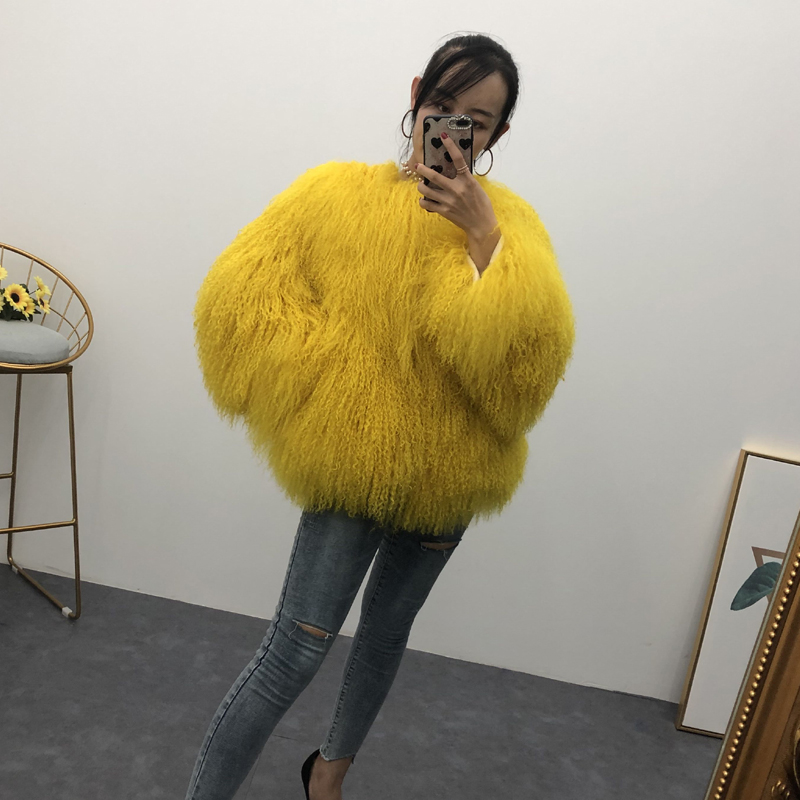 Women Real Mongolian Sheep Fur Coat Ladies Leather Short Style Beach Wool Fur Jacket Female Outerwear