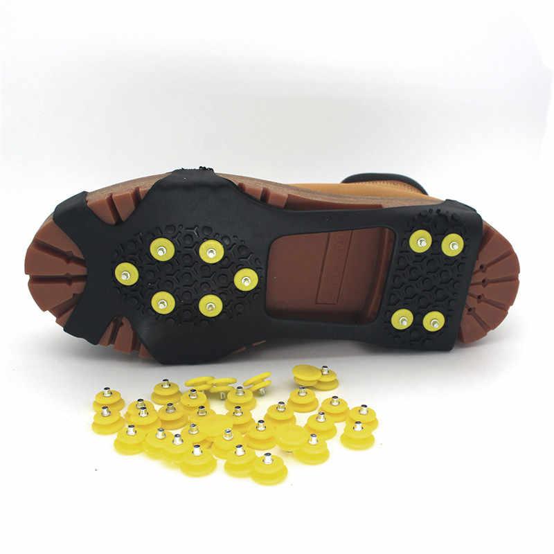 10/20 adet diş tırnak buz kar tırmanma kramponlar Spike kış açık kaymaz ayakkabı gripperler Cleats sivri Glace yedek