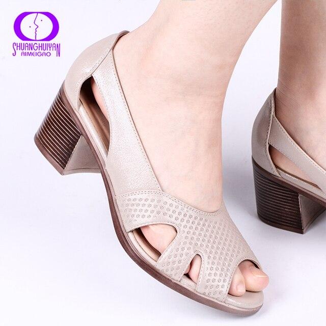 AIMEIGAO Mùa Hè Mới Peep Toe Sandal Thoải Mái Dày dây Cao Gót Da Mềm cho Nữ Size Lớn Giày Mùa Hè