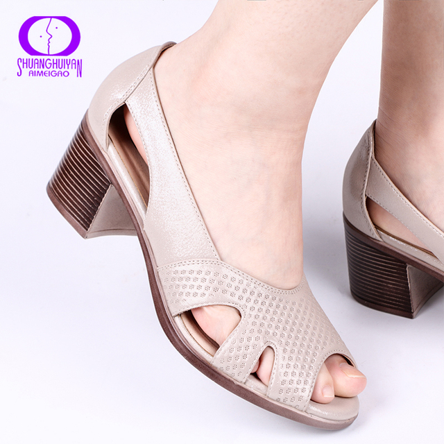 AIMEIGAO New Summer Peep Toe Sandals Comfortable Thick High Heel Sandals Soft Leather Shoes for Women Big Size Summer Shoes