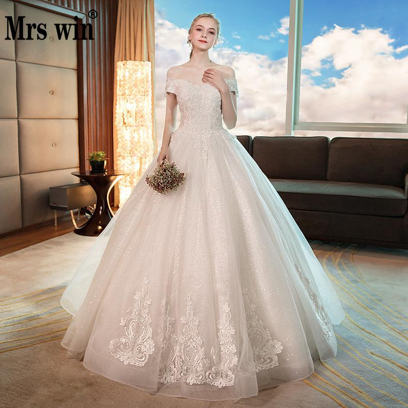 Mrs Win Wedding Dress 2020 The Luxury Boat Neck Ball Gown Bling Bling Sequins Wedding Dresses Plus Size Lace Wedding Gowns