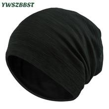 New Autumn Turban Cap for Women Men Stripe Beanies Winter Cotton Warm Hat Breathable Head