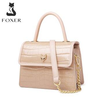 FOXER Ladies Chic Coat of Paint Messenger Bag Crocodile Retro Shoulder Bag for Women Commute Cowhide Totes Female Flap bag