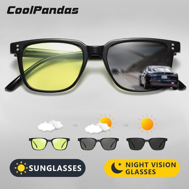 Coolpandas marca quadrado óculos de sol polarizados óculos de condução feminino clássico vintage photochromic gafas sol hombre
