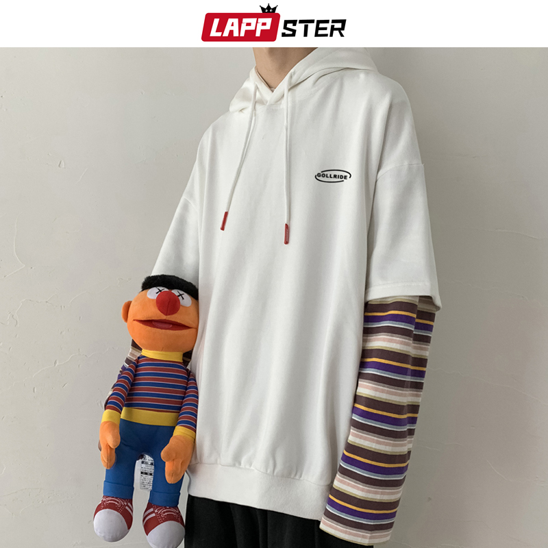 LAPPSTER Men Striped Harajuku Hooded Hoodies 2020 Autumn Mens Oversized Korean Sweatshirts Male Hip Hip White Casual Hoodie