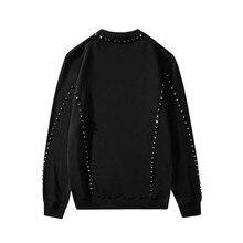 ABOORUN 2021 Men's Punk Rivets Sweatshirts Pure Cotton Black Pullover Hoodies for Male