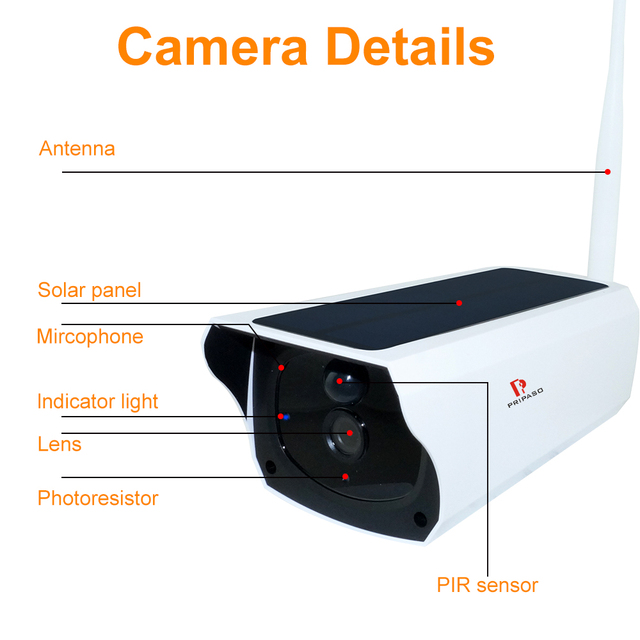 Pripaso 1080P WI FI Solar Camera HD Wireless IP67 Waterproof WiFi Exterior Security Surveillance CCTV IPcamera Two Way Audio Cam 5