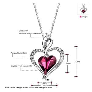 Image 2 - Neoglory áustria cristal & strass longo charme pingente colar de declaração duplo amor corações presente na moda para as mulheres diariamente