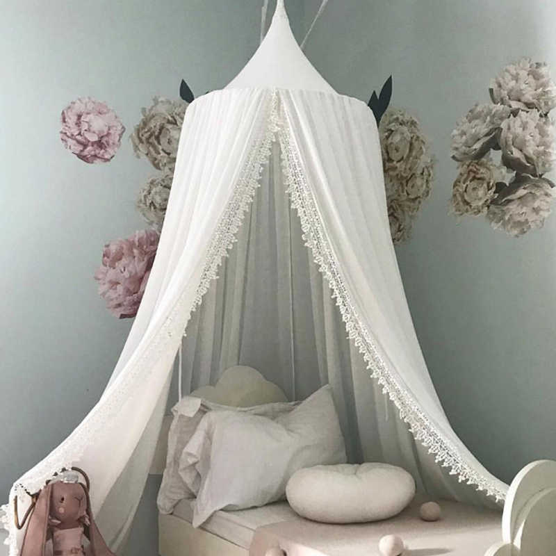 シフォンベビールーム蚊帳子供ベッドカーテンキャノピーラウンドベビーベッドネッティングテント baldachin 240 センチメートル装飾寝室女の子キャノピーベビーベッド