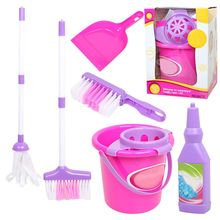 6Pcs Child Cleaning Sweeping Play Set Mop Broom Bucket Brush Dustpan Kits Kids