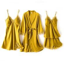 Bathrobe Sleepwear Shirt Gown-Set Lace Summer Shorts Full Yellow 4PCS Flower-Satin Backless