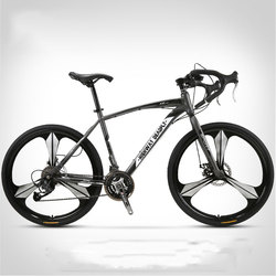 Road Bike Bicycle Bending Handle Fixed Gear Three Knife One Wheel 26 Inch Speed Double Disc Brakes Adult of Men and Women