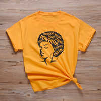 Powerful Afro Lady Graphic T Shirt Feminist Tees Women's Aesthetic Melanin Tee Shirt Black Queen T Shirts Ladies Girl Power Tops