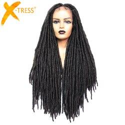 X-TRESS Dreadlock perruques de cheveux synthétiques pour les femmes noires Faux Locs Crochet tresse longue coiffure noir brun couleur dentelle avant perruque
