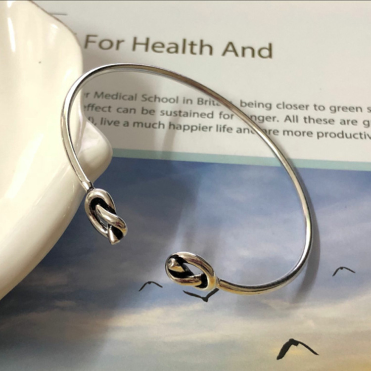 S925 Sterling Silver Jewelry Simple Retro Open Bangle