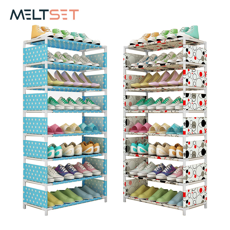 4/6/8 Layer Storage Shoe Rack Simple Combination Shoe Cabinet Organizer Dustproof  Shoes Stand Shelf  For Bedroom Dormitory Home