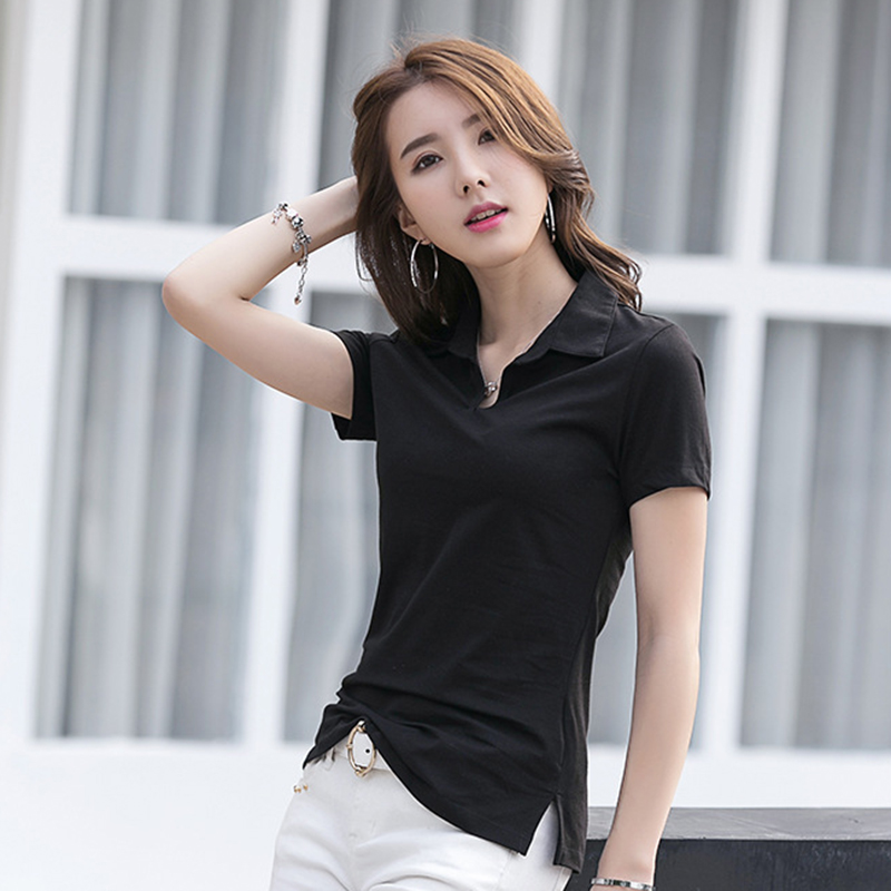 MiiKLN Solid Cotton Shirts 4 Colors 99% Cotton M To 4XL Black Red White Green Women Work Shirts Short Sleeves Femele Polo