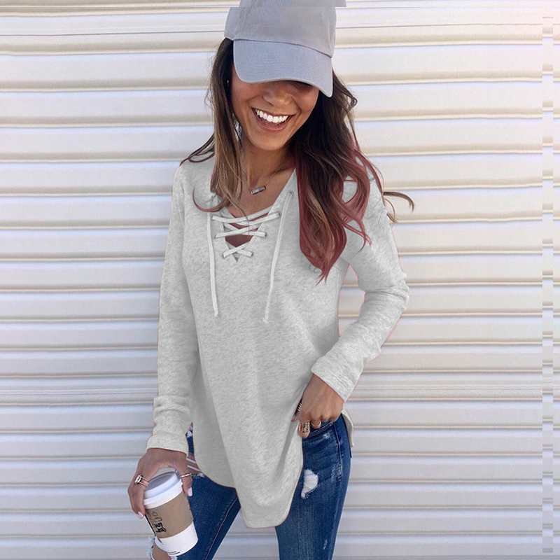 Women's Autumn Hoodies Solid Color V-neck Bandage Cloth Loose Thin Top Casual Simple Blouses Female