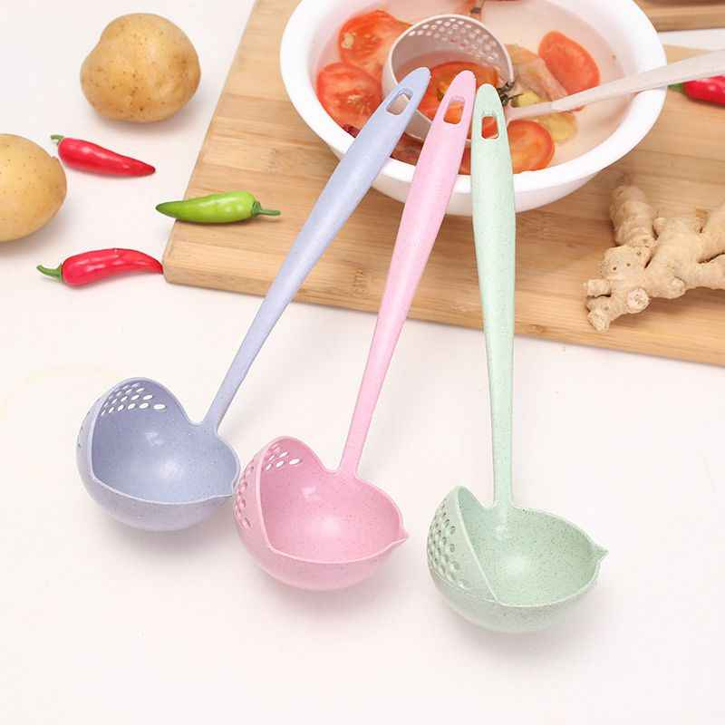 2 In 1 Soup Spoon Long Handle Soup Spoon Colander Porridge Spoons With Filter Dinnerware Tools