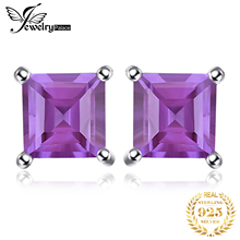 Feelcolor Wholesale 0.56ct Fashion Women Purple Natural Amethyst Earrings Stud Square Cut Solid 925 Sterling Silver trillion 1 4ct natural stone purple amethyst solid 925 sterling silver stud earrings for women charm jewelry gift fashion 2015