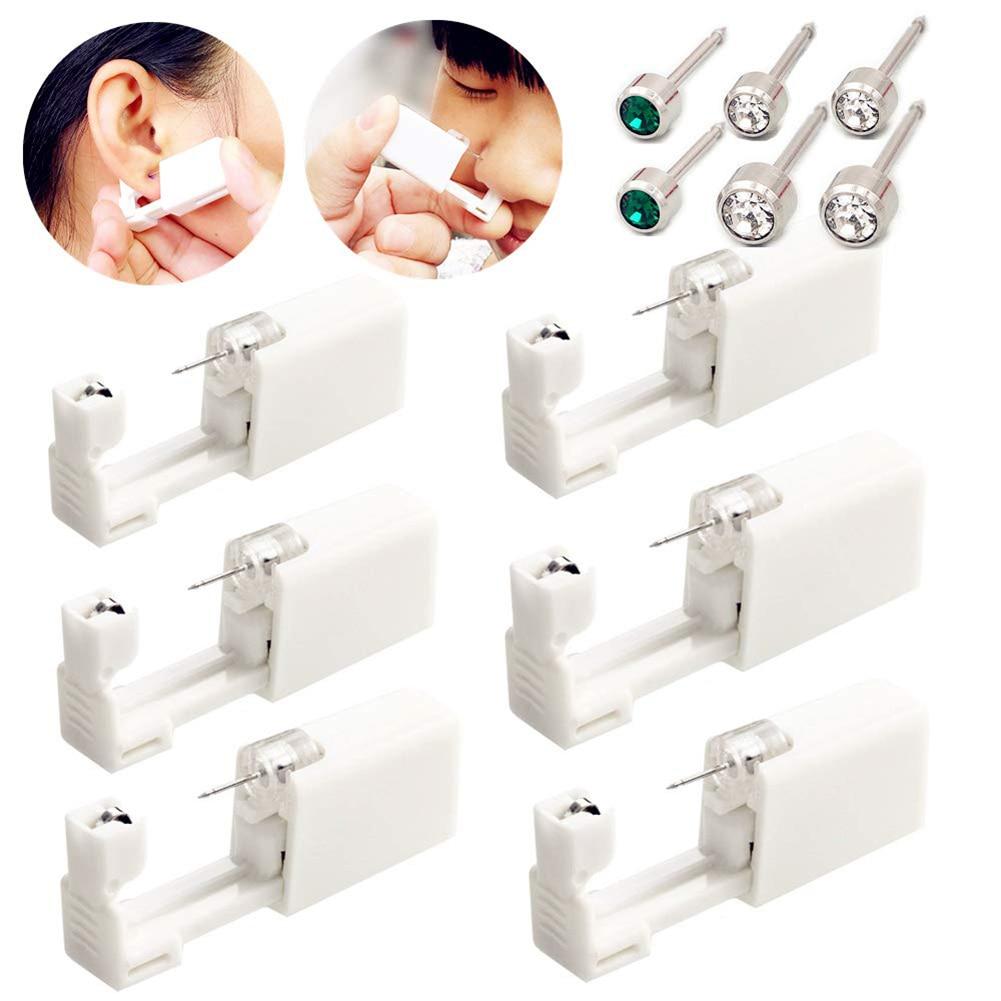6pcs Disposable Sterile Ear Piercers Ear Studs With Disinfection Tablets Women Beauty Ear Piercers Tools Kit
