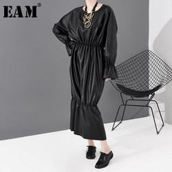 [EAM] Women Black Ruffles Pu Leather Big Size Dress New Round Neck Long Sleeve Loose Fit Fashion Tide Spring Autumn 2020 1R19801