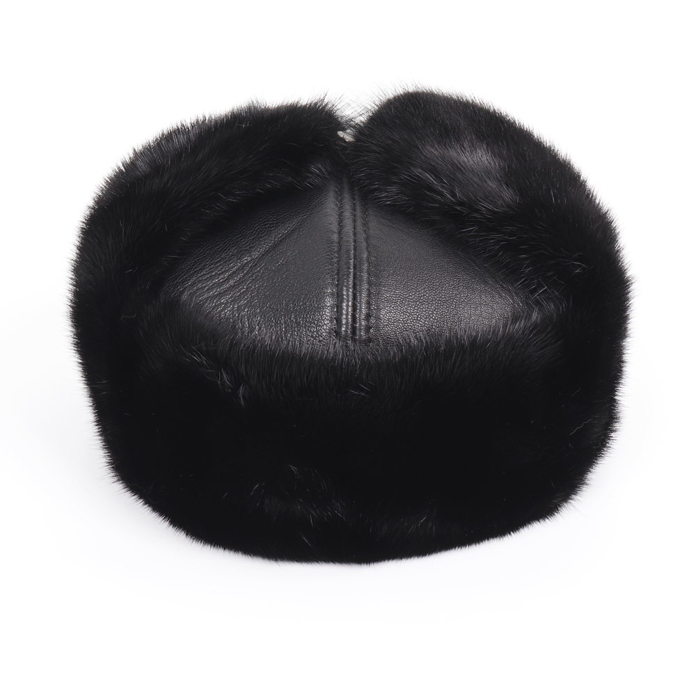 2019 New Winter Russian Men Real Mink Fur Bomber Hats Male Warm 100% Natural Mink Fur Hat Luxury Man Real Sheepskin Leather Cap 3