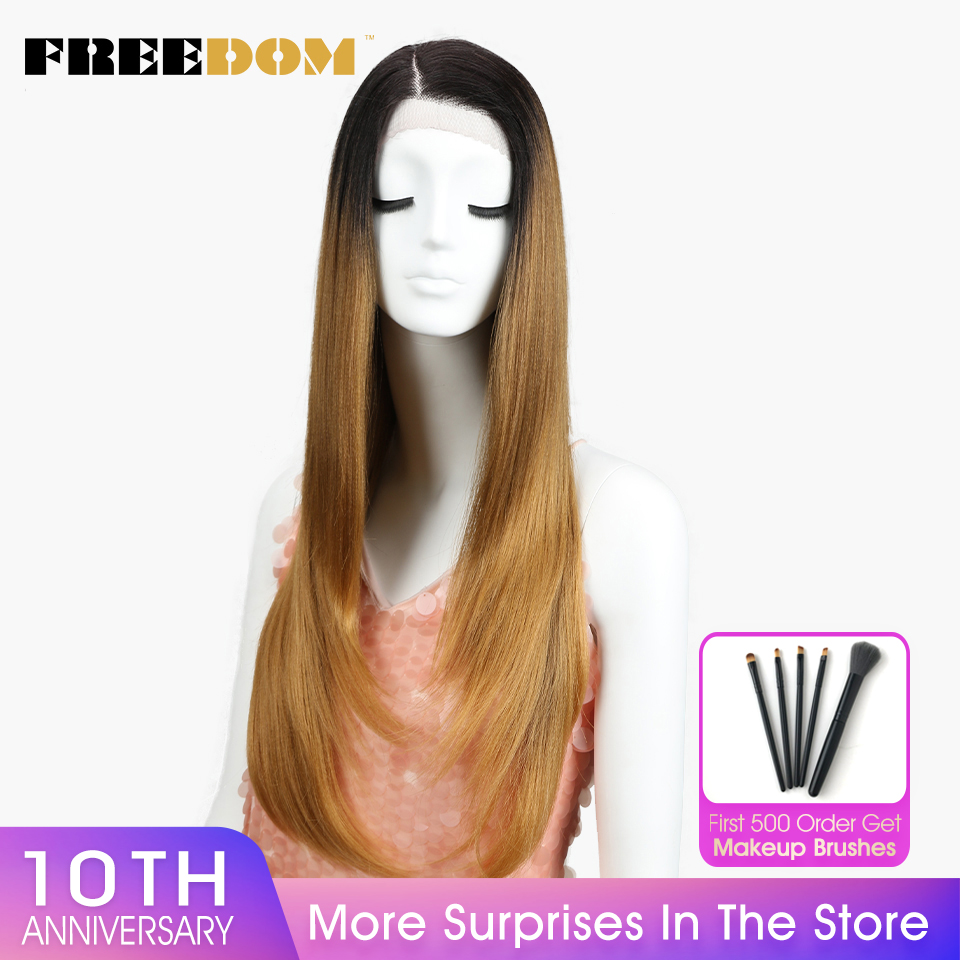 FREEDOM Synthetic Wigs For Black Women Heat Resistant Straight Dark Roots Blonde Lace Front Wigs Natural Hairline Cosplay Hair