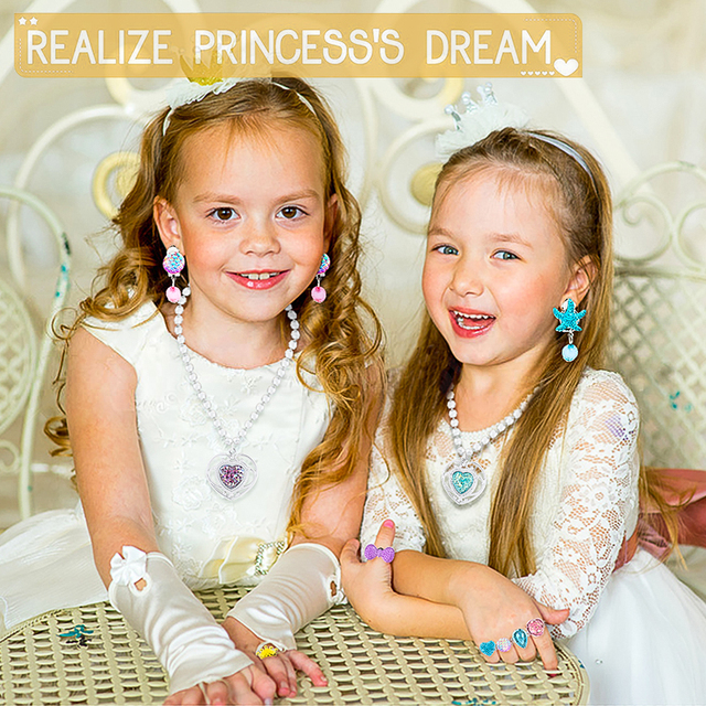 62Pcs Princess Pretend Jewelry Set Decor Princess-Toys Bags Necklace Bracelet Ring Earring Dress Up for Girls Party Supplies 3