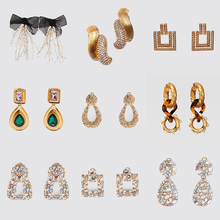 Ztech New Resin/Crystal Za Drop Earrings For Women Girls Bohemian Geometric Square Gold