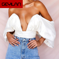 Fashion Blouses Women Satin Deep V Neck Off Shoulder Strapless Bow Lace Up Backless Ladies Cropped Top Streetwear