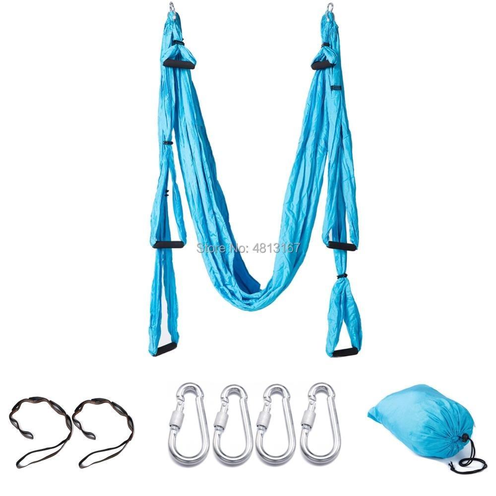 Aerial Yoga Swing 6 Handles Full Set Yoga Hammock Hanging Belt Flying Trapeze Sling Kit Antigravity Inversion Exercises Home Gym