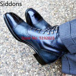 Dois tons de alta tornozelo arredondado boné toe couro do plutônio rendas até botas para homem zapatos de hombre sapatos de moda masculino d45