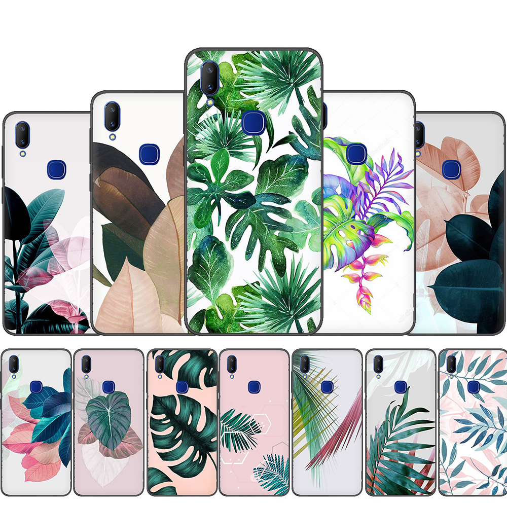 Tropical Plants Leaves Silicone phone <font><b>case</b></font> for <font><b>VIVO</b></font> <font><b>Y53</b></font> Y55 Y81 V5 V7 V9 V11 V15 Pro Y17 Y69 Y71 Y91 Y93 Y66 X9 Y11 U3 Y5S image