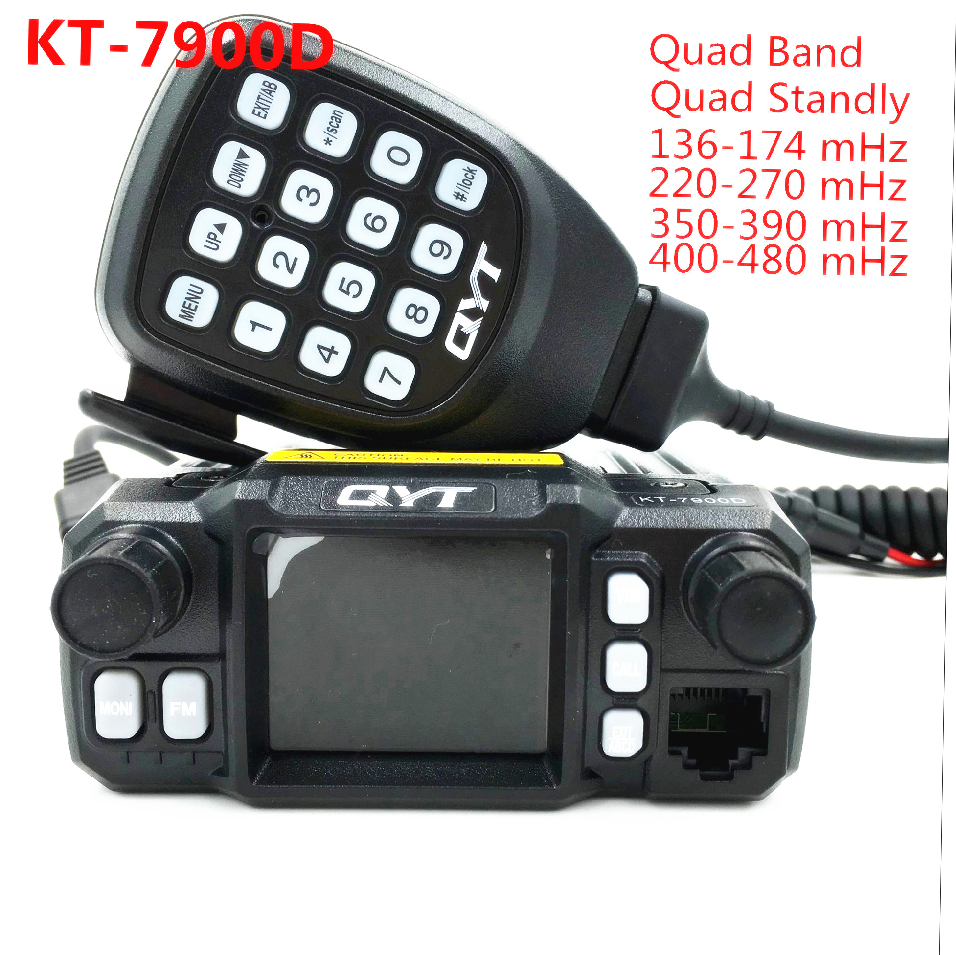 QYT KT-7900D 25W Quad-band Mobilradio-mottaker 144/220/350 / 440MHZ 25W Ham Car Mobile Radio