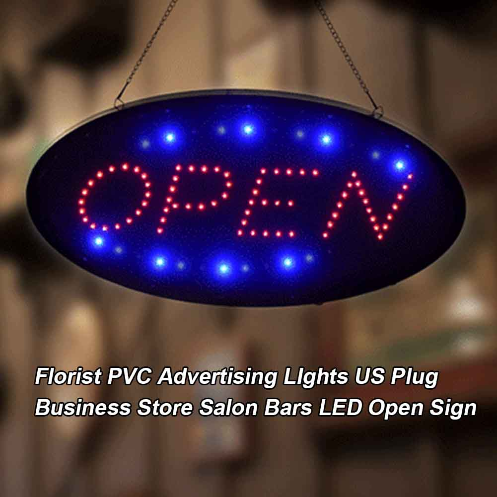 Display Board LED Open Sign Show Window Cafe US Plug PVC Business Store Easy Install Florist Advertising LIghts Salon Practical