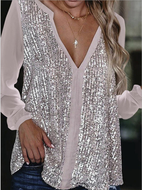 2021 Sexy V Neck Long Sleeve Sequined Solid Color Women Shirts Spring Casual Pullover Patchwork Loose Blouse 1