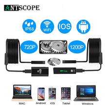 Antscope 1200p/720p Wifi كاميرا المنظار آيفون أندرويد Borescope كاميرا مقاومة للماء بالمنظار 8 مللي متر لينة/أنبوب الصلب iOS 40