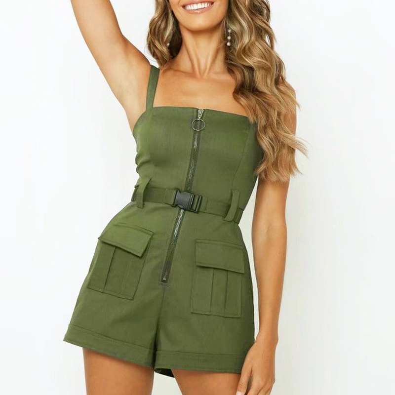 Safari Style Spaghetti Strap Women's Playsuit Zipper Belt Pocket Fashion Female Playsuits 2020 Summer Green Casual Lady Clothes