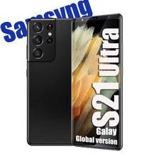 Küresel sürüm S21 Ultra 6.1 HD inç 6GB + 128GB akıllı telefonlar android cep telefonları parmak izi yüz kimlik çift SIM cep telefonları