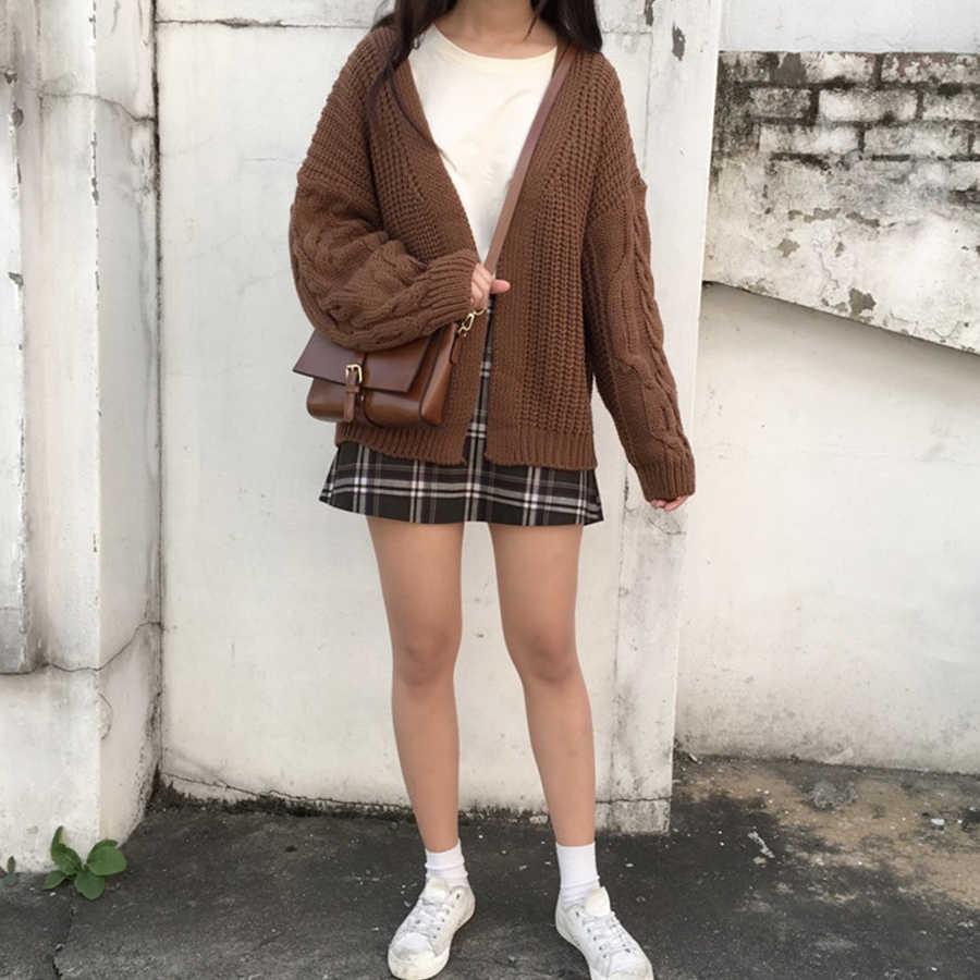 DICLOUD Nuovo Autunno Maglia Maglione Delle Donne 2019 di Modo Harajuku Allentato Caldo Cardigan Delle Donne Collegio casual Manica Lunga del Cappotto di Inverno