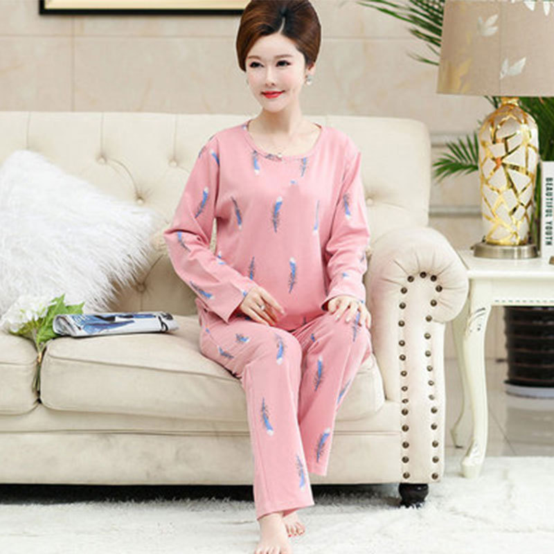 New Products Middle Aged And Elderly People Pajamas Women Long Sleeve Trousers Qmilch Feather Home Wear WOMEN'S Suit Loose Pajam