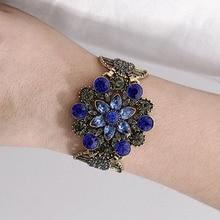 Bohemian Style Geometric Bracelets For Women vintage Ethnic Boho Blue Red Color Crystal Bracelet Wristband Wedding Jewelry vintage faux crystal geometric bracelet for women