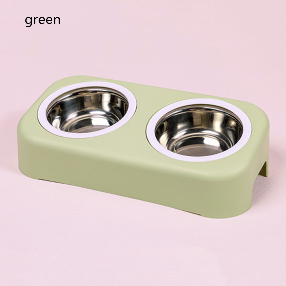 Pet Tableware Bowl Cat Cartoon Stainless Steel Dog Pot Plastic Bowl Pet Feeder Water Bottle Food Pet Kitten Double Bowl Cat Feed