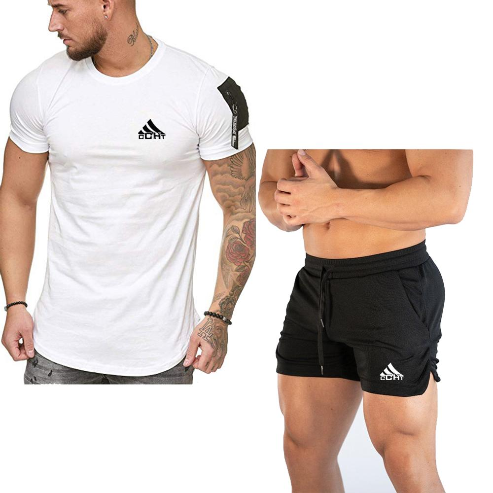 Men's Sets 2020 Breathable Fabric Mens 2 Piece O-neck Shirt + Shorts Outfit Sport Set Summer T-shirt + Short Pants