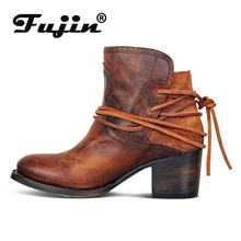 Fujin 2019 Boots Women Leather Shoes For Spring Autumn Boot Woman Casual Botas Mujer Female Ankle Ladies Booties
