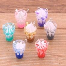 10 sztuk 7*28mm Mix przezroczysty kolor urok lody wisiorek z pudełkiem dla bransoletka naszyjnik tworzenia biżuterii kolczyki DIY znalezienie
