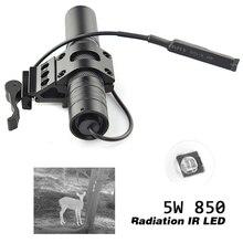 Activefire 5W 850NM IR LED פנס LED ראיית לילה לפיד 38mm עדשת אינפרא אדום אור מתכוונן Zoomable לפיד לציד